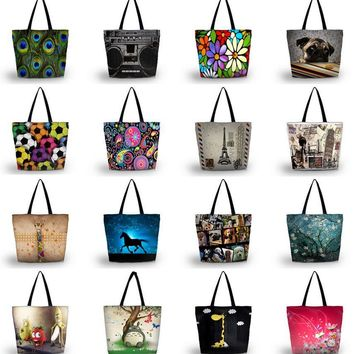 Fashion Ladies Womens Large Soft Foldable Washable Shoulder Shopping School Travel Bag Tote Grocery Packing Recyclable Bag