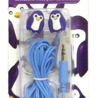 DCI Earbuds-MP3 Player iPod Accessories-Shark, Hedgehog, Penguin & Scottie Dog-New 2013 Styles! (Penguin)