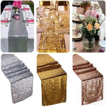 Gold Sequin Decor Table Runner Cloth Background For Wedding Party 30x180cm TB