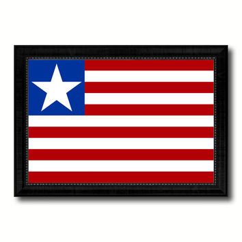 Liberia Country Flag Canvas Print with Black Picture Frame Home Decor Gifts Wall Art Decoration Gift Ideas