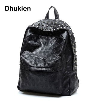 New Fashion Women PU kpack School bags Travel  Skull Punk Rivet backpack for Teenage Girls Mochila feminina B15271Leather bac