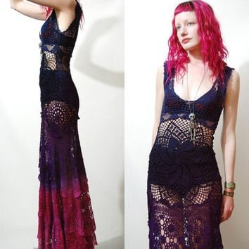 Crochet Dress VINTAGE LACE Purple Blue Black OMBRE Long Maxi Sheer Grunge Gypsy Bohemian Hippie ooak Handmade xxs xs