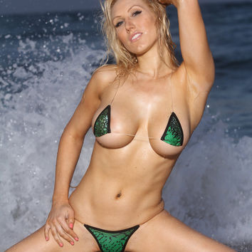 Green Print Micro Mini String Bikini Set