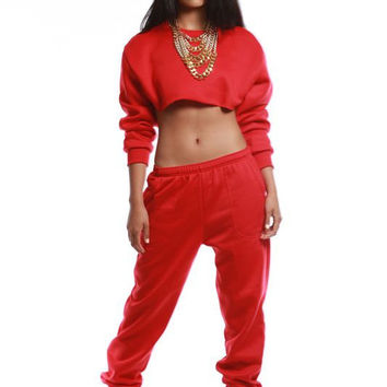 Red Sweat Suit - sorellaBoutique - Sorella Boutique