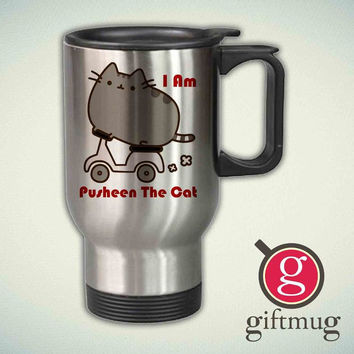 Parody Pusheen The Cat Funny 14oz Stainless Steel Travel Mug
