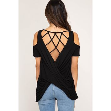 Cold Shoulder Knit Top with Open Criss Cross Back - Black