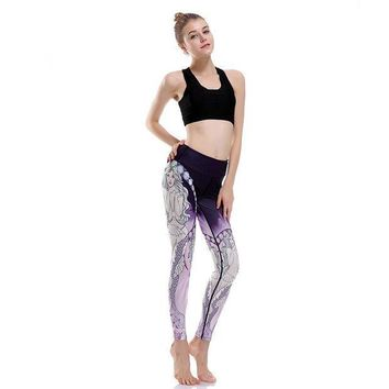 PEAPON Silm  Leggings Aor Mermaid Purple Print Quickly Dry Pencil Workout For Women Push Up Jeggings Jsut Do It yuga-0051