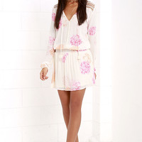 Blossom a Day Ivory and Pink Floral Print Dress