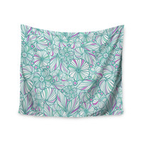 "Julia Grifol ""My Turquoise Flowers"" Teal Pink Wall Tapestry"