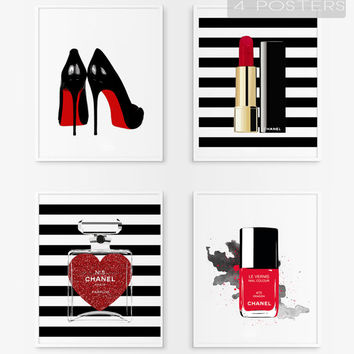 Chanel lipstick rouge printable .Nail polish Chanel. Bottle Cha n5. Louboutin shoes.Fashion printable poster. Fashion artwork. Glitter heart