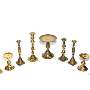 Brass Candlesticks Gold Candlestick Holders Lot of Brass Candlesticks Wedding Candlesticks Wedding Decorations - Set of 9