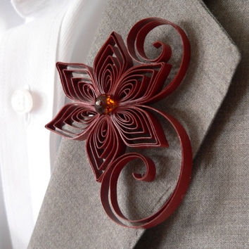 Cinnamon Boutonniere, Brown Buttonhole, Burnt Sienna Wedding