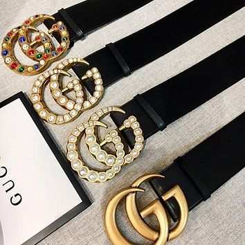 GUCCI Fashion Woman Men More Style Diamond Pearl Smooth Buckle Belt Leather Belt