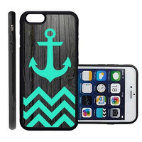 RCGrafix Brand Teal Anchor On Dark Wood Apple Iphone 6 Plus Protective Cell Phone Case Cover - Fits Apple Iphone 6 Plus