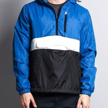 Hooded Pullover Color Block Anorak 17321-5202 - FF10F