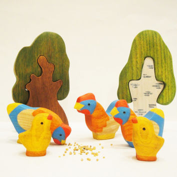 Farm toys set (5pcs) Rooster and Hens Waldorf nature table Miniature animal figurines Handmade wooden toys for toddlers Christmas gift idea