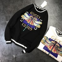 """Gucci"" Fashion Dragonfly Embroidery Letter Pattern Print Long Sleeve Sweater Women Casual Tops"
