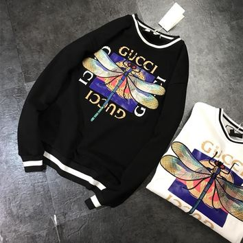"""""""Gucci"""" Fashion Dragonfly Embroidery Letter Pattern Print Long Sleeve Sweater Women Casual Tops"""