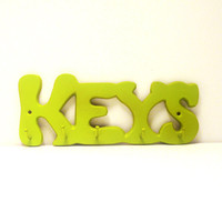 vintage key rack  //  hooks, retro typography, neon lime green, entry way, mod, words, keys, dorm room, home organization, wall hanging