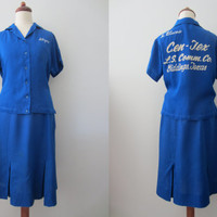 "50s/60s Blue Bowling Uniform by King Louie w/ Name Embroidery ""Allyne"", M / W29 // Vintage Rockabilly Bowling Shirt and Skirt Set"