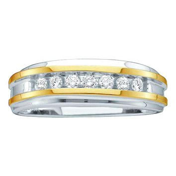 14kt White Two-tone Gold Men's Round Channel-set Diamond Wedding Band 1/4 Cttw - FREE Shipping (US/CAN)