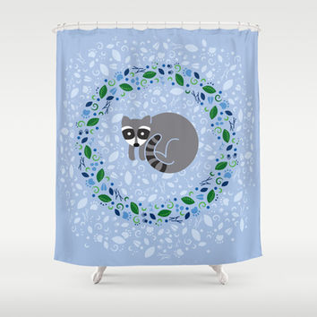 Woodland Raccoon Shower Curtain by swissette