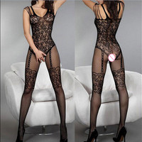 Baby Doll Sexy Erotic Lingerie Women Hot Transparent Open CrotcMesh Fishnet Lingerie Sexy Costumes Dress Bodystocking Black