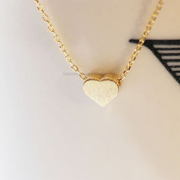 Gold brushed Heart necklace,Tiny hearts necklaces, Gold hearts on Gold chain...daint, simple, birthday, wedding, bridesmaid