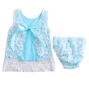Floral Briefs Shorts Summer 2PCS Outfit Baby Girls Dress Sets for 2017 New Baby Girls Lace Sleeveless Tops &Short Botton 0-18M