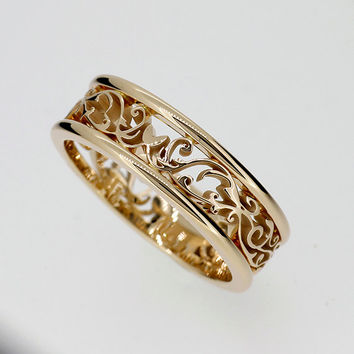 Wide filigree ring made from Yellow gold, men wedding ring, man filigree wedding band, unique, men's engagement ring, wide wedding ring
