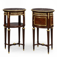 A Pair of Louis XVI Style Gilt-Bronze Mounted Mahogany Bedside Tables