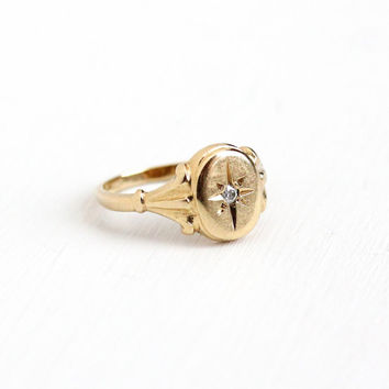 Vintage 10k Yellow Gold Diamond Ring - Size 4 1/4 Incised Star Classic Signed B&F Baden and Foss Fine Jewelry
