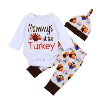 3PCS/Mommy's Little Turkey Romper with Pants and Hat Thanksgiving Set Newborn