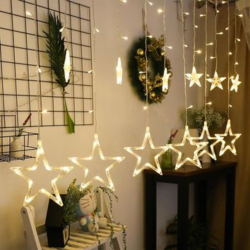 2.5M Christmas LED Lights AC 220V Romantic Fairy Star LED Curtain String Lighting For Holiday Wedding Garland Party Decoration