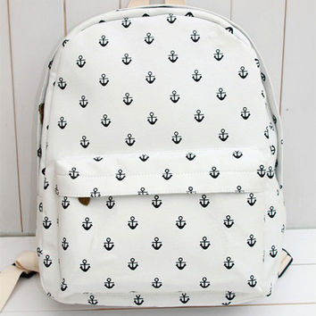 New Navy Anchor Canvas Backpack