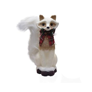 "13.5"" Holiday Moments Cream White Fox with Plaid Bow Christmas Decoration"
