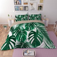 White Green leaves Bedding Sets Plant Twin Queen king Size Quilt/Duvet/Doona Cover Bed Sheet Pillowcase New Fashion Bedclothes