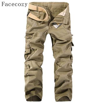 Facecozy Men Spring Sport Outdoor Pants Male Trekking Hiking&Camping Trousers With Multi-Pockets Plus Size Climbing Cargo Pants