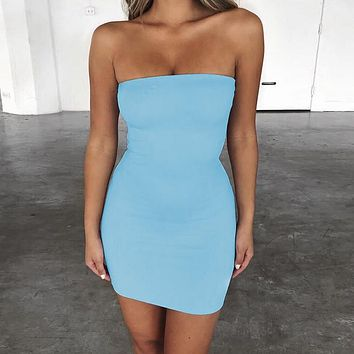 Fashionable Sexy Breast-wiping Night Shop Buttock Dresses Light blue