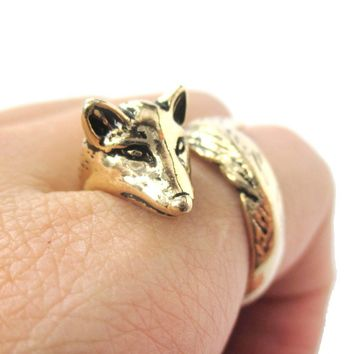 3D Fox Wrapped Around Your Finger Shaped Animal Ring in Shiny Gold | US Size 5 to 9