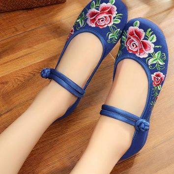 Chinese Peony Embroidery Asakuchi Flower Toe Ring Band Flats Shoes CK00525 Blue Shoes