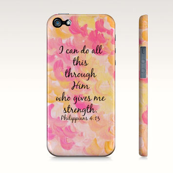 I Can Do All This Through Him - Christian iPhone 4 4s 5 5s 5c 6 Case Pink Purple Orange Green Clouds Bible Verse Philippians Bible Scripture