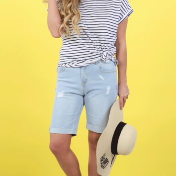 Dayna Denim Bermuda Shorts | S-3X