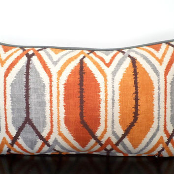 Gray ikat accent pillow cover 21x11, burnt orange couch pillow, small ikat lumbar, medallion sofa cushion orange and gray geometric pillow