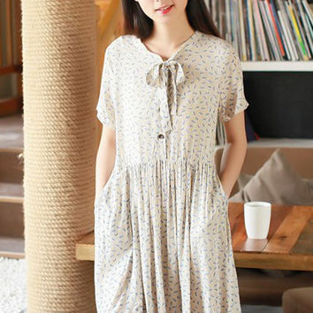 Cashew Print Tie Neck Short Sleeve Pleated A-Line Mid Dress