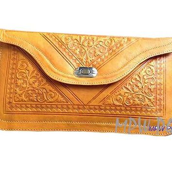 Moroccan Leather clutch bag - Yellow
