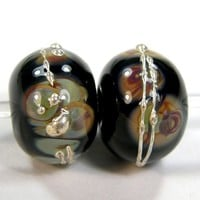 Black and Raku Handmade Lampwork Glass Beads Fine Silver Shiny Dots