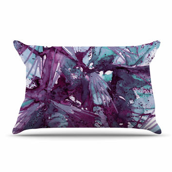 "Ebi Emporium ""Birds of Prey - Aqua Purple"" Blue Lavender Pillow Case"