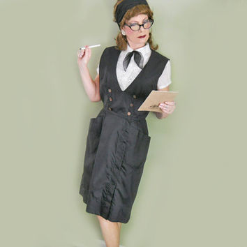 Vintage Waitress Uniform - Retro Waitress or Maid Uniform - Black Jumper Dress with Pencil Skirt