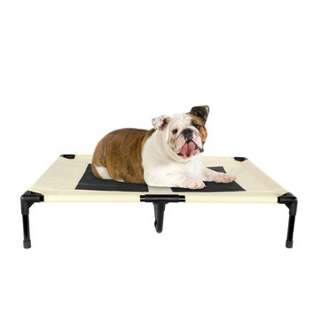 Elevated Dog Bed for Indoor Outdoor Pet Portable Bed Large Beige